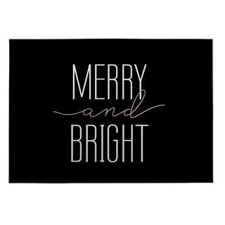 Kavka Designs Black Merry And Bright 2' x 3' Indoor/ Outdoor Floor Mat