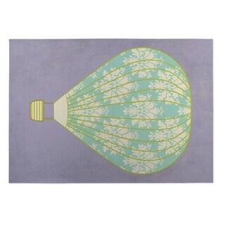 Kavka Designs Purple/ Blue/ Ivory Hot Air Balloon 2' x 3' Indoor/ Outdoor Floor Mat