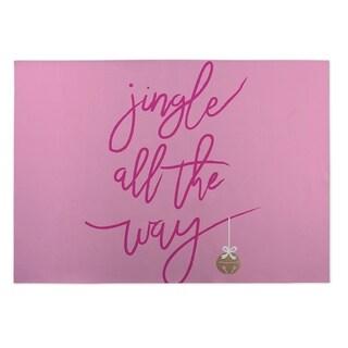 Kavka Designs Pink Jingle 2' x 3' Indoor/ Outdoor Floor Mat