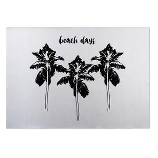 Kavka Designs Black/ White Beach Days BW 2' x 3' Indoor/ Outdoor Floor Mat