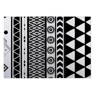 Kavka Designs Black/ White Black and White Moroccan 2' x 3' Indoor/ Outdoor Floor Mat