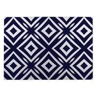 Kavka Designs Blue/ White Square Peg 2' x 3' Indoor/ Outdoor Floor Mat