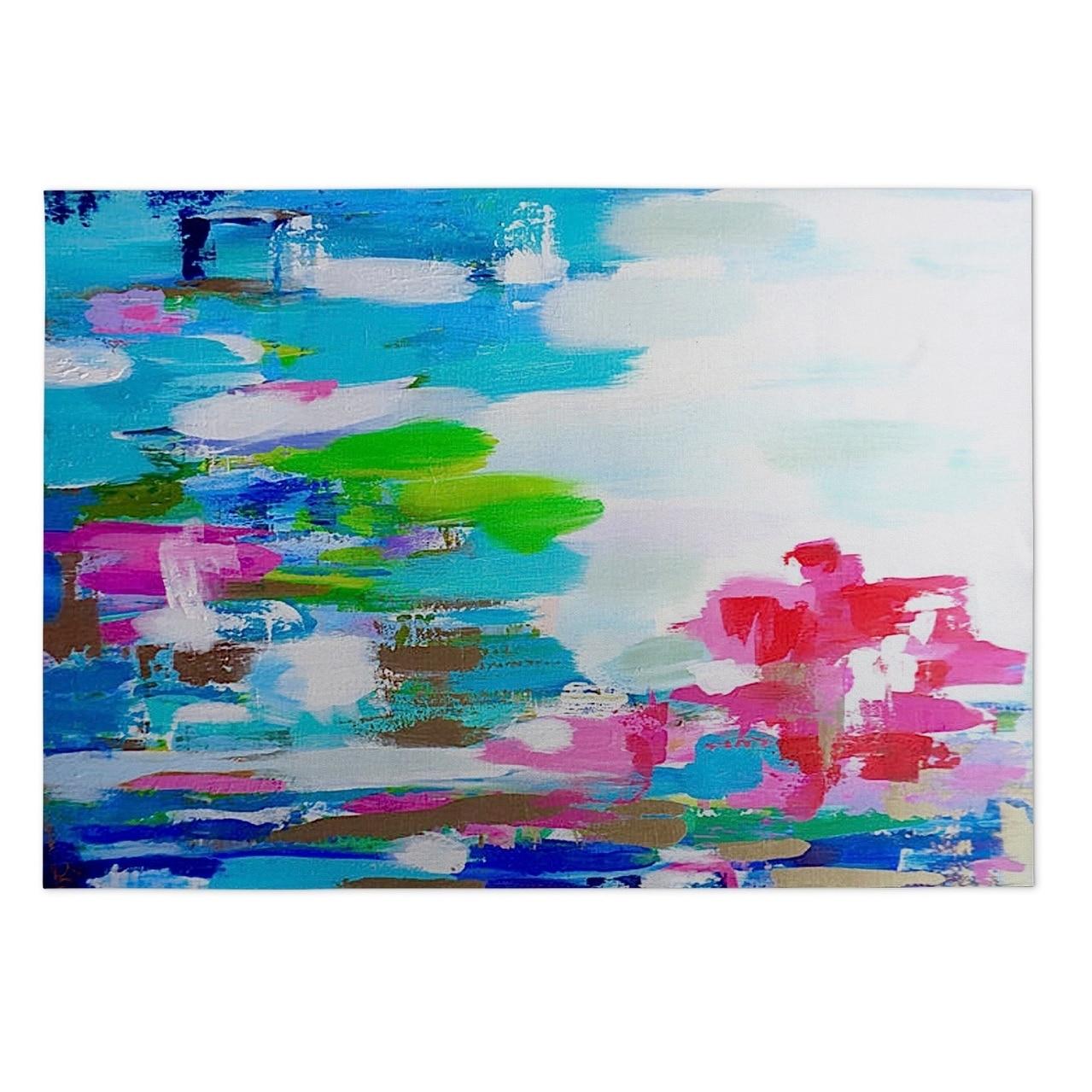 Kavka Designs Blue/ Green/ Pink Tomato Tamata ll 2' x 3' Indoor/ Outdoor Floor Mat (Blue - N/A - Modern & Contemporary)