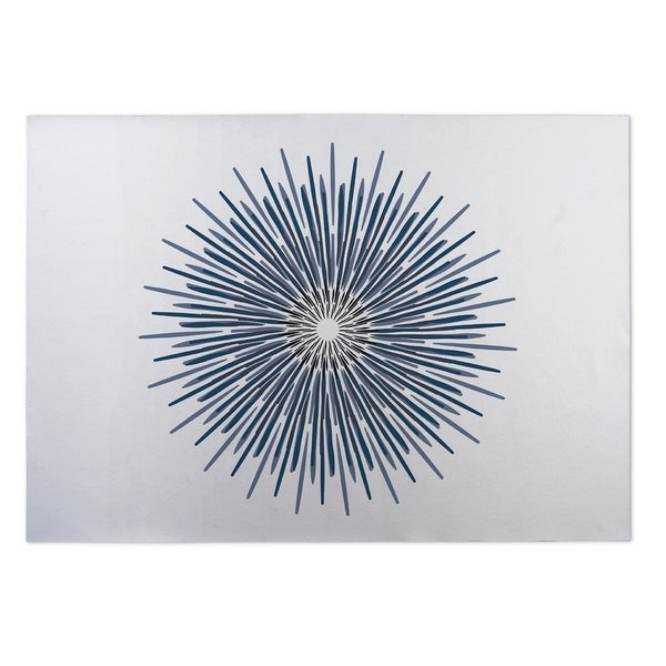 Kavka Designs Blue/ Grey/ White Polar Sun 2' x 3' Indoor/ Outdoor Floor Mat