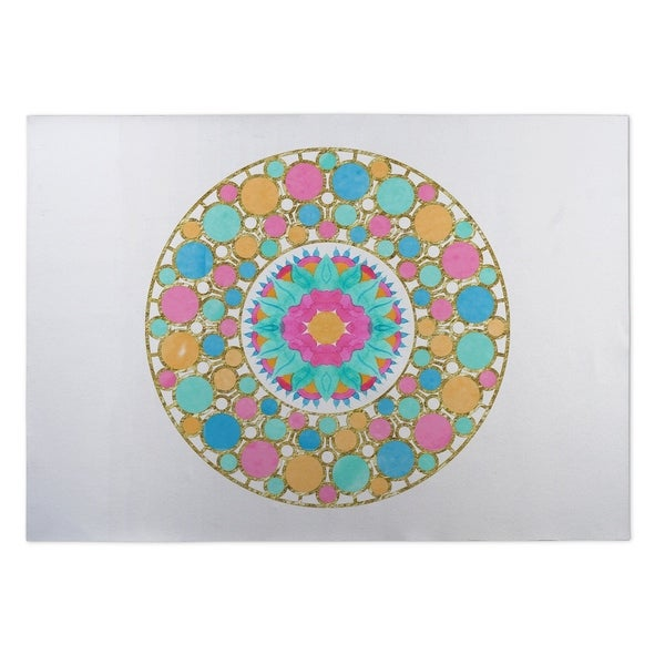 Kavka Designs Blue/ Pink/ Gold Let It Pop 2' x 3' Indoor/ Outdoor Floor Mat