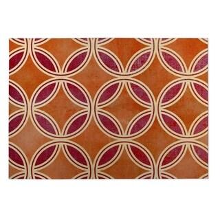 Kavka Designs Orange/ Red Palm Scope 2' x 3' Indoor/ Outdoor Floor Mat