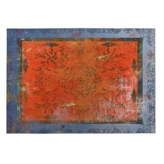 Kavka Designs Rust/ Blue Adorned 2' x 3' Indoor/ Outdoor Floor Mat