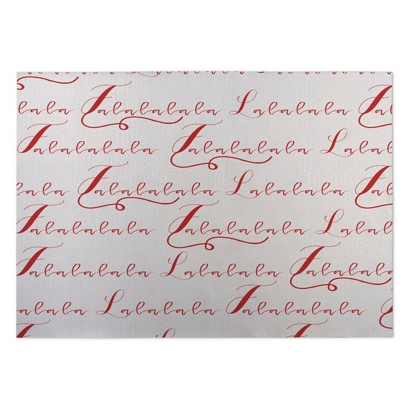 Kavka Designs Red/ Ivory Lalala 2' x 3' Indoor/ Outdoor Floor Mat