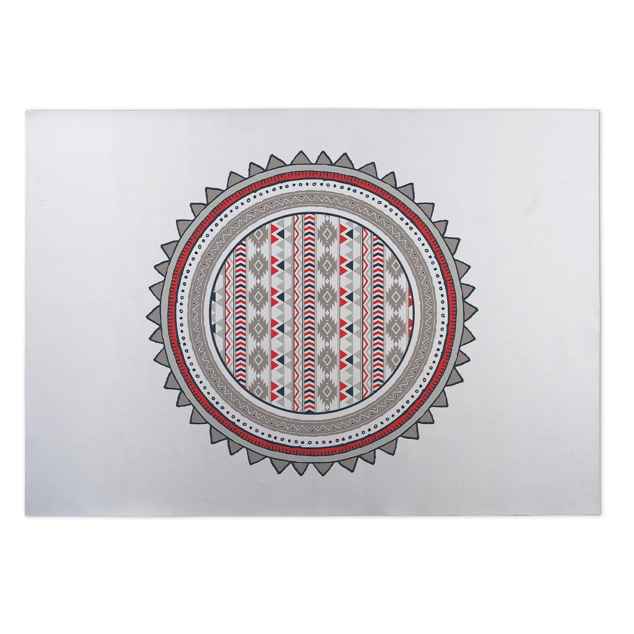 Kavka Designs Grey/ Red/ White Tribal Tango Red 2 x 3 Indoor/ Outdoor Floor Mat (Grey - N/A - Rustic)