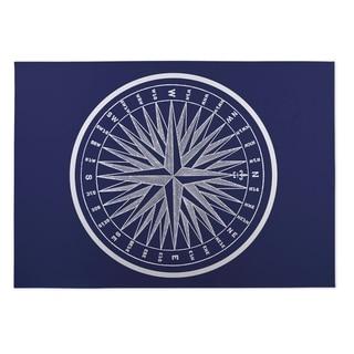 Kavka Designs Blue/ White Nautical Compass 2' x 3' Indoor/ Outdoor Floor Mat