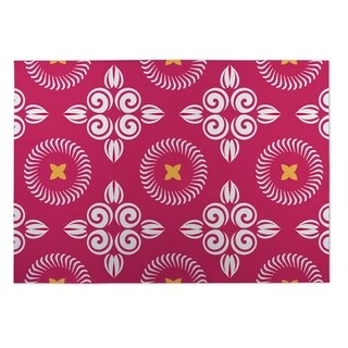 Kavka Designs Pink/ White/ Yellow Scrolled Floral 2' x 3' Indoor/ Outdoor Floor Mat