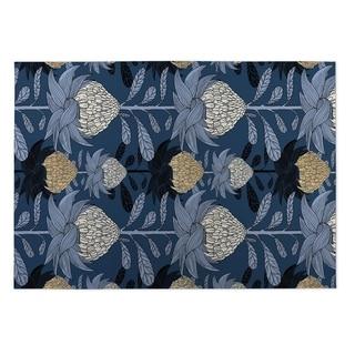 Kavka Designs Blue/ Beige Nautical Blossom 2' x 3' Indoor/ Outdoor Floor Mat