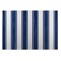 Kavka Designs Blue/ White Nautical Stripe 2' x 3' Indoor/ Outdoor Floor Mat