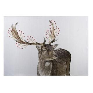 Kavka Designs Brown/ Red/ White Berry Deer 2' x 3' Indoor/ Outdoor Floor Mat