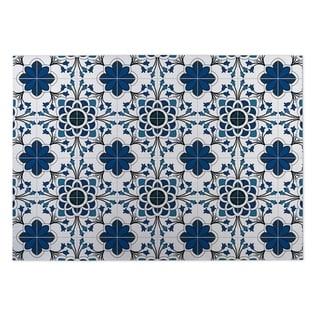Kavka Designs Blue/ White Truro Blue 2' x 3' Indoor/ Outdoor Floor Mat