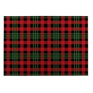 Kavka Designs Red/ Black/ Green Christmas Plaid 2' x 3' Indoor/ Outdoor Floor Mat