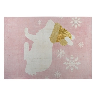 Kavka Designs Pink/ White/ Gold A Christmas Bunny 2' x 3' Indoor/ Outdoor Floor Mat