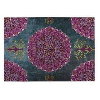 Kavka Designs Grey/ Purple/ Blue Ells 2' x 3' Indoor/ Outdoor Floor Mat
