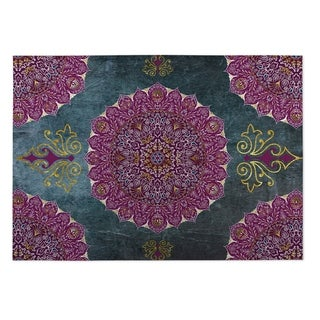 Kavka Designs Grey/ Purple/ Blue Ells 2' x 3' Indoor/ Outdoor Floor Mat