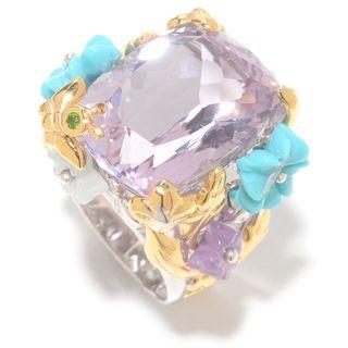 Michael Valitutti Palladium Silver Pink Amethyst & Multi Gem Carved Flower Ring