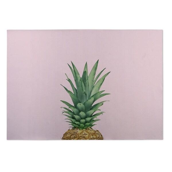 Kavka Designs Pink/ Green/ Brown/ Tan Pineapple Top 2' x 3' Indoor/ Outdoor Floormat