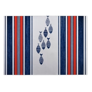 Kavka Designs Blue/ Red/ White Blue Fish 2' x 3' Indoor/ Outdoor Floor Mat