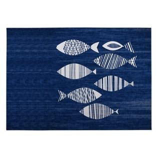 Kavka Designs Blue/ Ivory Fish 2' x 3' Indoor/ Outdoor Floor Mat