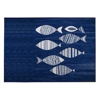 Kavka Designs Blue/ Ivory Fish 2' x 3' Indoor/ Outdoor Floor Mat