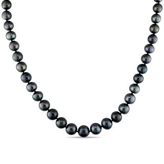 Miadora Signature Collection 14k White Gold Black Tahitian Pearl Strand Necklace (8-10 mm)