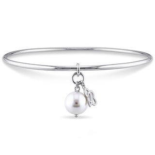 Miadora Sterling Silver Cultured Freshwater Pearl Interlocked Pearl and Abstract Double Charm Bangle (9-9.5 mm)