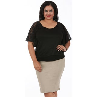 LaMonir Curvy Short Pencil Skirt with Back Zip