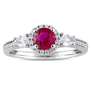 Miadora Signature Collection 14k White Gold Round White Sapphire Ruby and 1/8ct TDW Diamond 3-Stone Engagement Ring