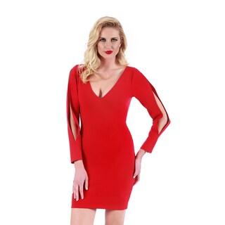 Lamonir Short Dress with Slit Long Sleeves