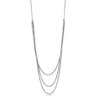 Sterling Silver Adjustable Length Layered Sparkle Chain Necklace (adjustable up to 36 inches)