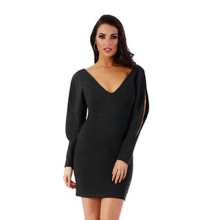Lamonir Short Dress with Slit Long Sleeves