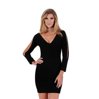 Lamonir Short Dress with Slit Long Sleeves|https://ak1.ostkcdn.com/images/products/17015947/P23296063.jpg?impolicy=medium
