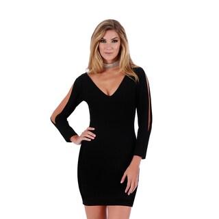 Lamonir Short Dress with Slit Long Sleeves (Option: S)