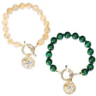 Michael Valitutti Palladium Silver Gemstone Bead Toggle Bracelet w/ Tree of Life Charm