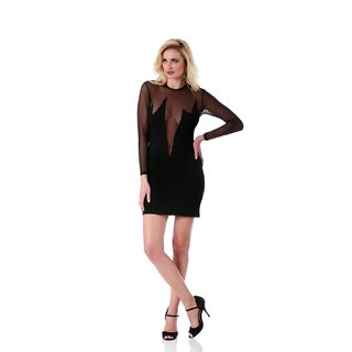 Lamonir Short Dress with Sheer Deep V-Neck