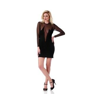 Lamonir Short Dress with Sheer Deep V-Neck (Option: S)