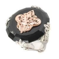 Dallas Prince Sterling Silver Black Onyx Donut Fleur-de-lis Ring