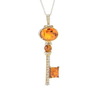Michael Valitutti Palladium Silver Multi Shape Baltic Amber Key Pendant
