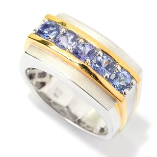 Michael Valitutti Palladium Silver Tanzanite Five-Stone East-West Men's Ring