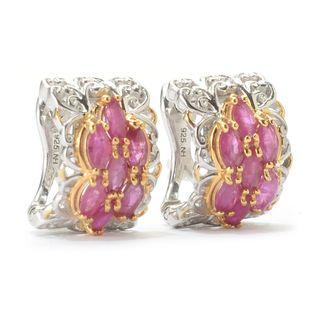 Michael Valitutti Palladium Silver Marquise Ruby Cluster J-Hoop Earrings