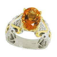 Michael Valitutti Palladium Silver Orange Ethiopian Opal & White Sapphire Ring