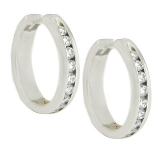 Michael Valitutti Sterling Silver Round Cubic Zirconia Hoop Earrings