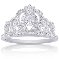 Dolce Giavonna Sterling Silver Cubic Zirconia Crown Ring