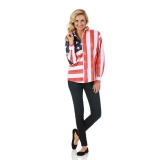 LaMonir Long-sleeved American Flag Shirt