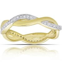 Finesque Gold over Sterling Silver 1/4ct TW Diamond Twist Design Ring