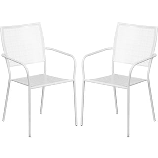 Tiffany White Stackable Patio Arm Chairs